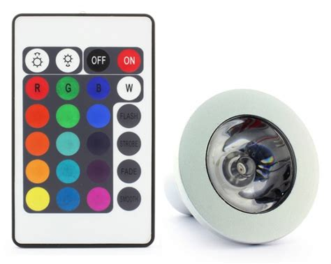 gu10 3w led 16 colour changing light bulb with remote