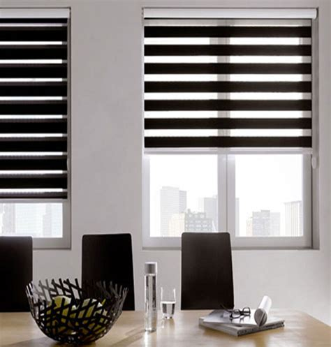 black window blinds black and white striped roller blind black and white