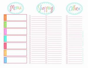 blank calendar printable menu calendar template 2016 With menu planning template with grocery list