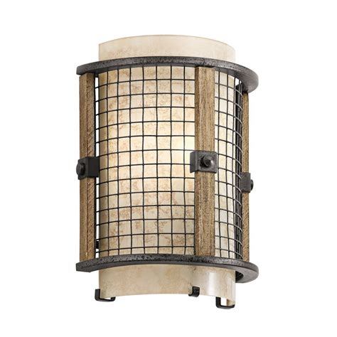 rustic style wall light with open iron mesh frame and mica