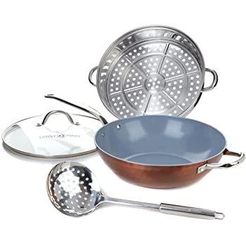 amazoncom simply ming  jumbo wok technolon ceramic nonstick  stainless steel steamer set