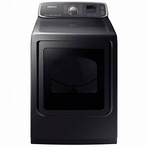 Samsung 7 4 Cu  Ft  Electric Dryer With Steam In Black Stainless Steel  Energy Star