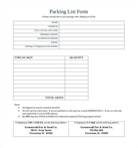packing list templates  printable formats  ms xlsx