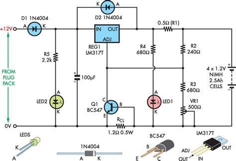 float charger  nimh cells circuit diagram
