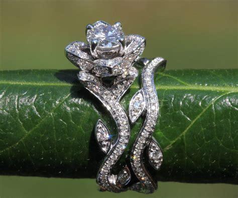 flower wedding rings platinum blooming work of flower leaf lotus engagement wedding ring set