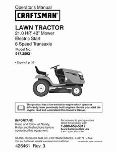 Craftsman Lawn Mower 917 289210 User Guide