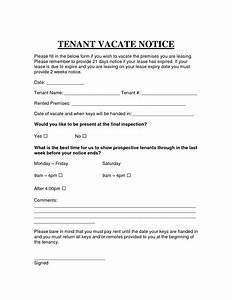 printable sample vacate notice form attorney legal forms With sample eviction letter without lease