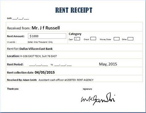 Rent Receipt Template Rent Receipt Templates For Ms Word Excel Receipt Templates