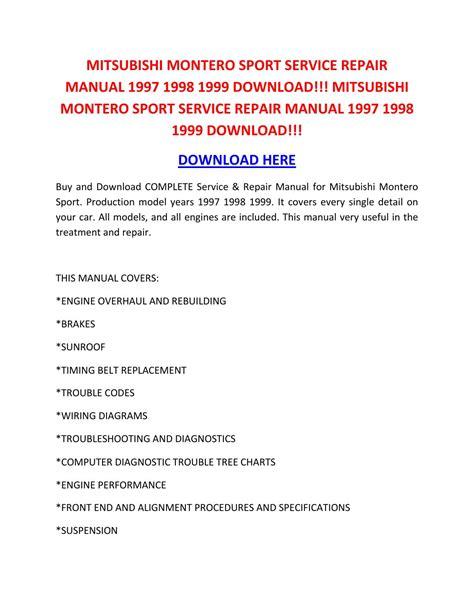 online auto repair manual 2002 mitsubishi montero sport electronic valve timing shop manual mitsubishi montero sport service repair manual 1997 1998 1999 download mitsubishi