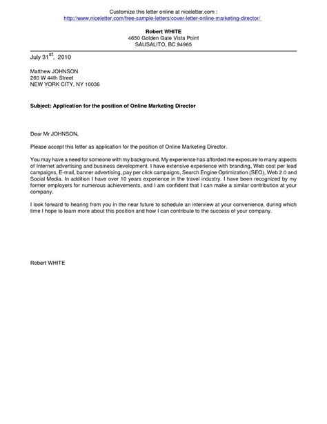 cover letters cover letter   application business
