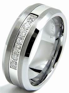 men39s diamond tungsten wedding band ring 8mm real diamonds With tungsten diamond wedding rings