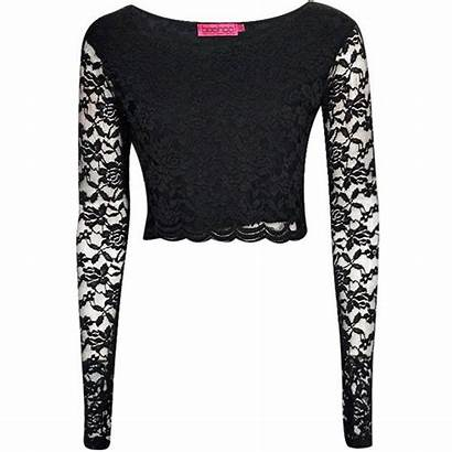 Crop Lace Polyvore Sleeve Tops Shirt Boohoo