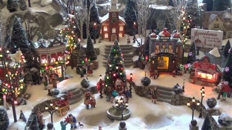 christmas village displays with train happy holidays