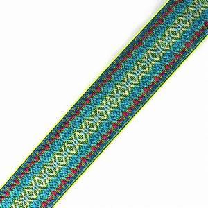 Flat elastic embroidery 50 mm neon yellow x 1m Ma
