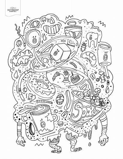 Coloring Pages Adult Monster Junk Dental Books