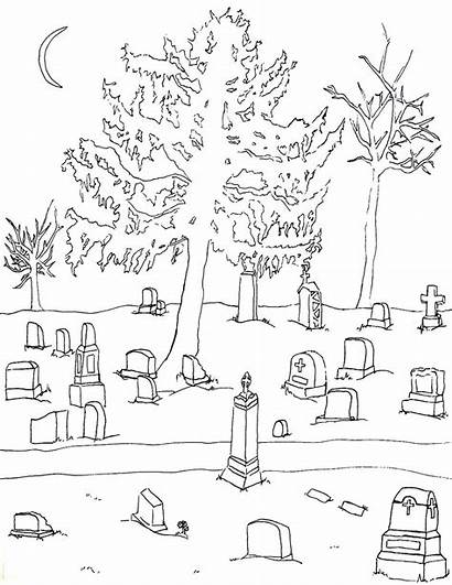 Coloring Halloween Graveyard Cemetery Pages Adult Printable