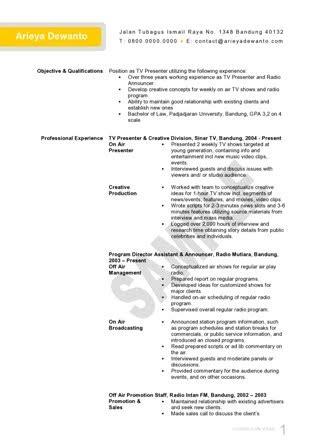 Radio Presenter Resume by Radio Tv Presenter Cv Template Template Curriculum Vitae