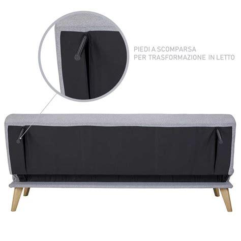 Divano Clic Clac - divano letto clic clac 3 posti tessuto imbottito e legno