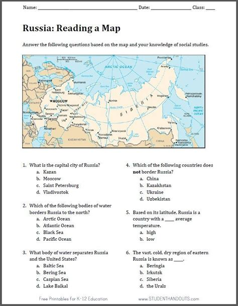 russia map worksheet   print  file world geography geography activities