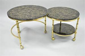 solid brass and gold flecks glass faux bamboo nesting With solid gold coffee table