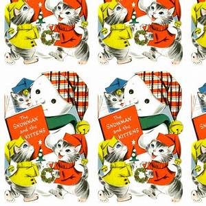 vintage kids retro kitsch cats kittens snowman hats