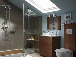 amenager une salle de bains sous les toits travauxcom With salle de bain design avec cheminées électriques décoratives