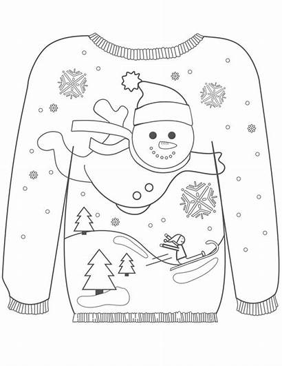 Sweater Ugly Christmas Colouring Pages Snowman