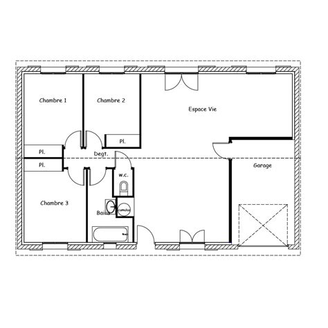 plans de maison plain pied 3 chambres plan maison 100m2 plein pied 3 chambres excellent plan