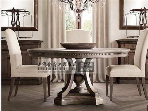 French Vintage European And American Style Antique Dining Table Made Of Old Wood Round Dining