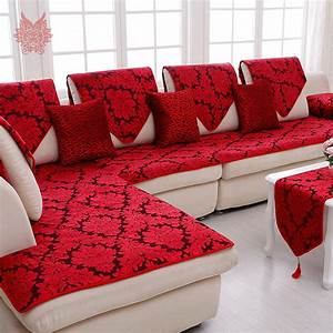 Classic red floral jacquard terry cloth sofa cover plush for Red sectional sofa covers