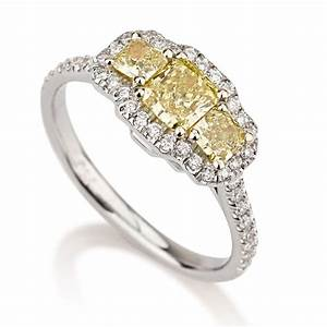 radiant 3 stone fancy intense yellow diamond engagement With wedding rings with colored diamonds