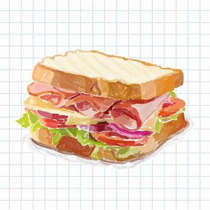 Sandwich Drawn Hand Watercolor Vector Stacked Clipart