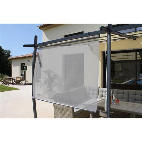 table de salon en bois rideau textilène brise soleil gris l 170 x l 160 cm