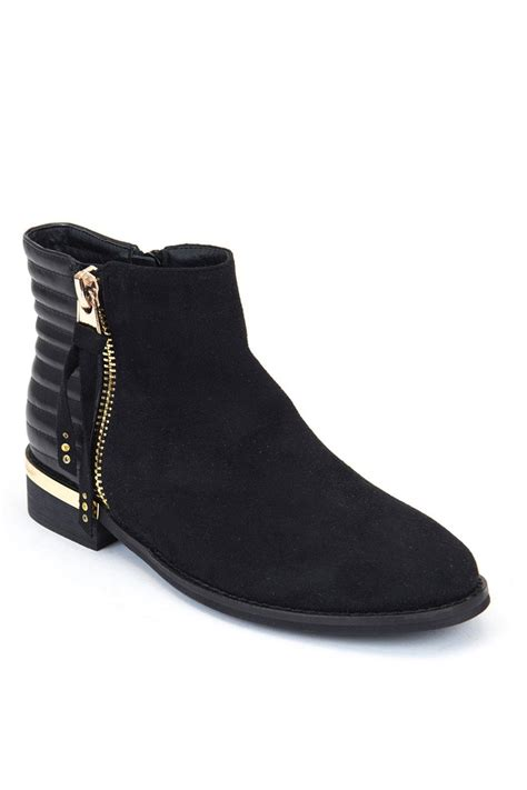 Flat Bootie by Gc Shoes Black Flat Bootie From New York City By Via Rossi