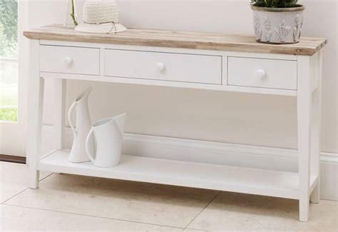 white buffet table with wood top statement furniture florence white matt painted washed