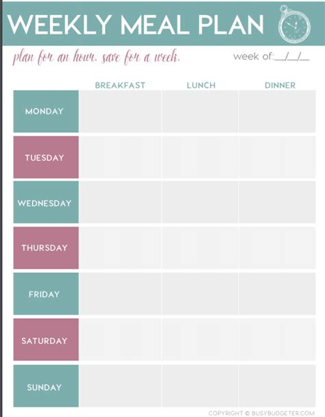 meal planning calendar simple meal planning for beginners step by step the busy budgeter