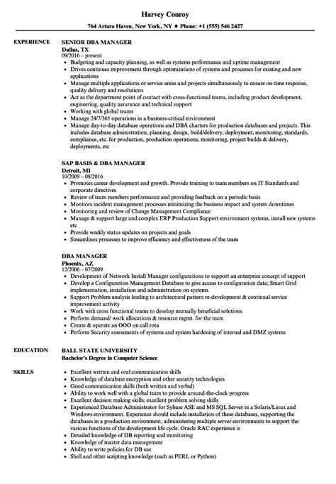 Dba Manager Resume by Dba Manager Resume Sles Velvet