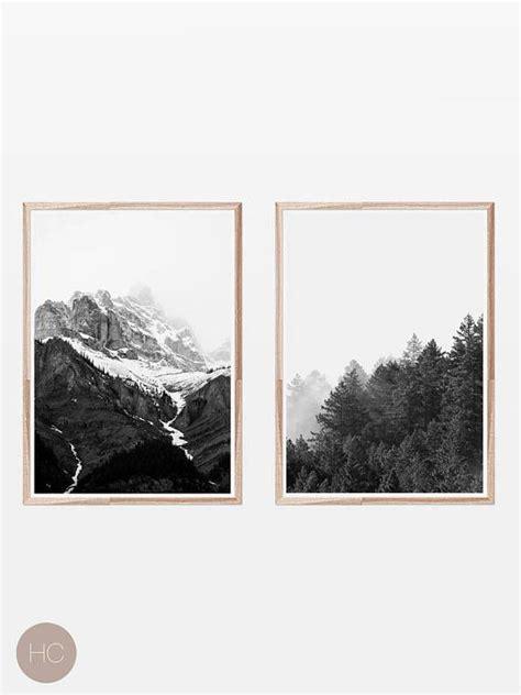 Black White Prints Scandinavian Mountain Print Nordic