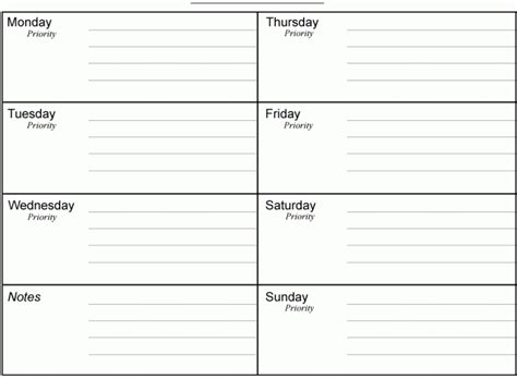 Monthly Organiser Template by 10 Weekly Planner Templates Word Excel Pdf Formats