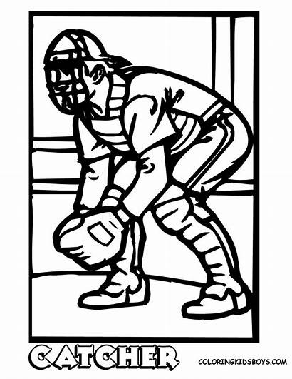 Catcher Coloring Baseball Pages Softball Printable Clipart