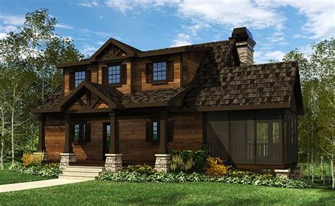 small cottage house plan  screened porch close