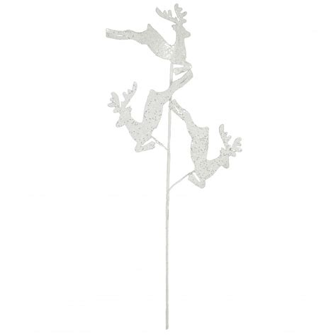 29 quot white glitter leaping reindeer spray xp364127