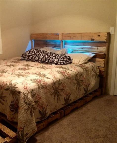diy headboard with lights diy pallet bed frame and headboard 101 pallets