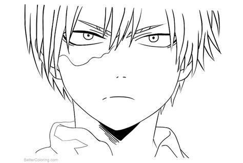 boku  hero academia coloring pages todoroki lineart
