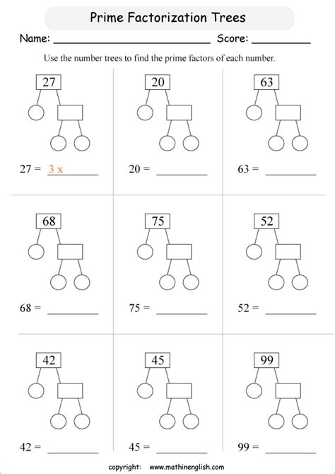use the prime factor trees to determine which prime number multiplied give the composite number