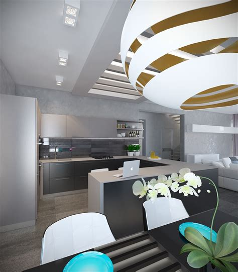 pair  modern homes  distinctively bright color
