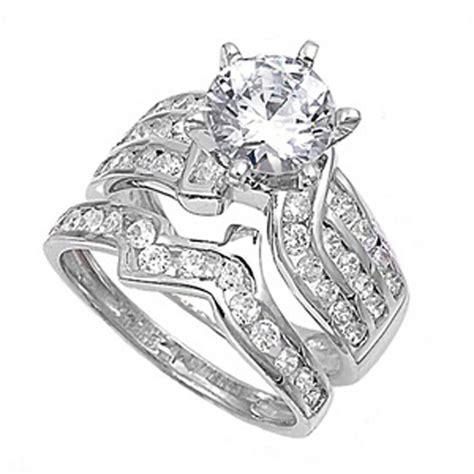 sterling silver designer engagement ring wedding band