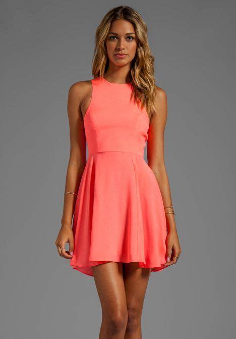 naven exclusive jackie circle skirt dress  neon coral