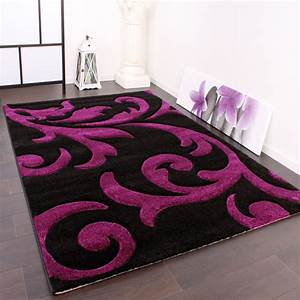 Teppich Grau Lila : designer teppich festival mit konturenschnitt muster lila schwarz violet wohn und schlafbereich ~ Indierocktalk.com Haus und Dekorationen