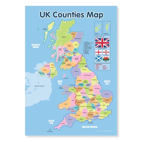 uk counties map education poster funky monkey house